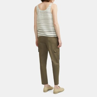 Theory Scoop Neck Tank Top in Striped Silk