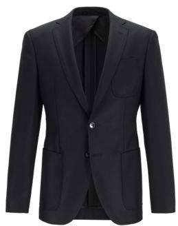 BOSS Extra-slim-fit jacket in traceable Italian merino wool