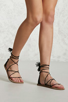 Forever 21 FOREVER 21+ Faux Suede Ankle-Wrap Sandals