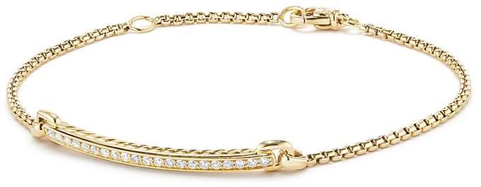 David Yurman Petite Pavé Station Chain Bracelet with Diamonds in 18K Gold