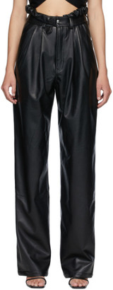 Markoo Black Faux-Leather The Pleat Trousers