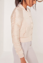 Missguided Ruched Sleeve Bomber Jacket Nude