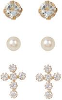 Candela 10K Yellow Gold CZ Detail Cross, 3mm Freshwater Pearl, & Aqua Stud Earrings Set