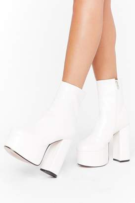 Nasty Gal Womens Dance to the Beat Faux Leather Platform Boots - white - 3