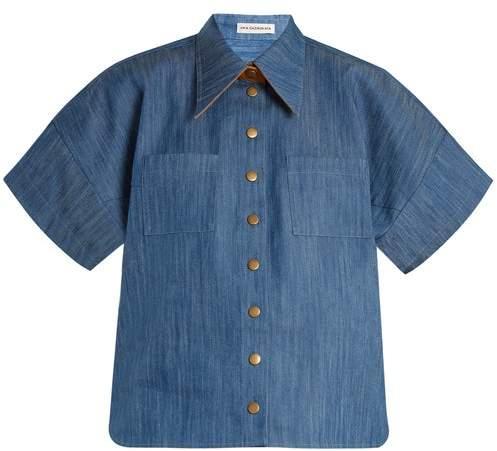 Vika Gazinskaya Short Sleeved Box Cut Denim Shirt - Womens - Mid Blue