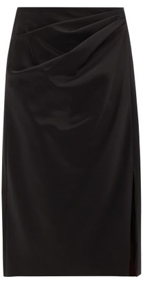 Peter Pilotto Pleated-side Satin Pencil Skirt - Womens - Black
