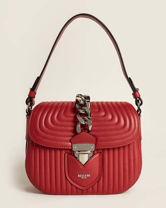 Moschino Red Small Quilted Hidden Lock Leather Bag