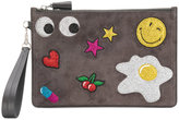 Anya Hindmarch glitter patch clutch - women - Leather/PVC/Calf Suede - One Size