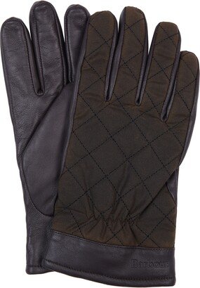 Barbour Dalegarth Leather & Waxed Cotton Gloves