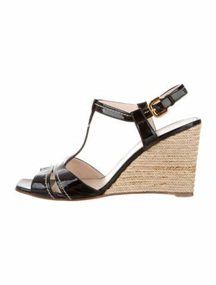 Prada Patent Leather Espadrilles Black