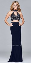 Faviana Floral Embroidered Two Piece Jersey Prom Dress