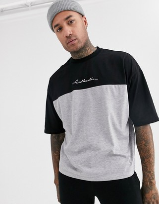 Asos DESIGN oversized t-shirt with color block and small chest text print