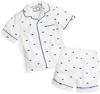 Petite Plume Whales Pajama Set w/ Contrast Piping, Size 6M-14