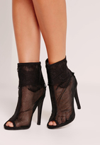 Missguided Lace Peep Toe Ankle Boots Black