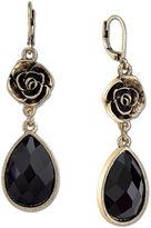 1928 Jewelry Gold-Tone Black Faceted Flower Teardrop Earrings