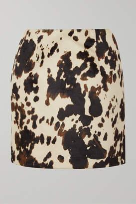 ALEXACHUNG Cow-print Faux Fur Mini Skirt - Ecru