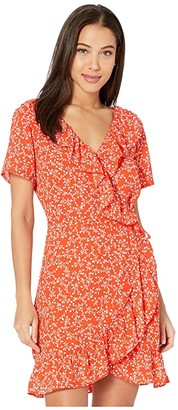 Cupcakes And Cashmere Kiley 'Blooming Hearts' Wrap Dress w/ Ruffles (Red Hots) Women's Dress