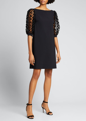 Chiara Boni Boat-Neck Puff-Sleeve Scuba Jersey Dress