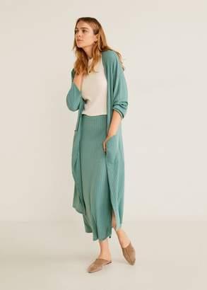 MANGO Ribbed cardigan turquoise - S - Women