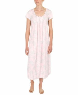 Miss Elaine Etched Floral Long Knit Nightgown