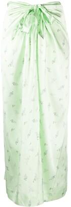 Ganni Floral Satin Wrap Skirt