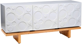 Modern Three Wide Light Wood Platform Dresser in Circle Cabinets