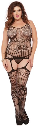 Seven Til Midnight SEVEN 'TIL MIDNIGHT Women's Plus-Size Floral and Swirl Lace Cami Bodystocking