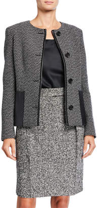Max Mara Tweed Leather-Trim Button-Front Jacket