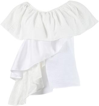 Marques Almeida One-shoulder Ruffle Top, White