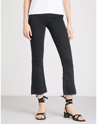 Mother Hustler Ankle Fray flared high-rise jeans