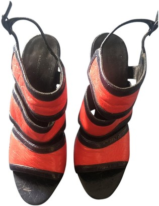 Balenciaga Orange Leather Sandals