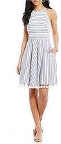 Eliza J Stripe Halter Tassel Trim Fit & Flare Dress