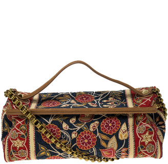 Tory Burch Multicolor Floral Embroidered Canvas and Leather Frame Top Handle Bag