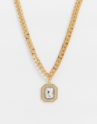 ASOS DESIGN necklace with luxe crystal jewel pendant in gold tone