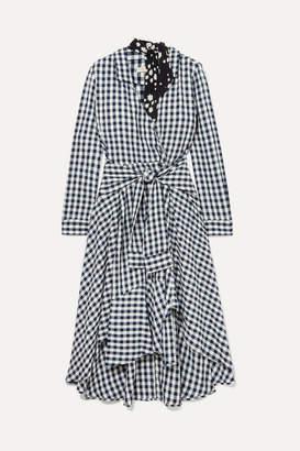 Maje Wrap-effect Floral-print Crepe-trimmed Gingham Seersucker Dress - Black