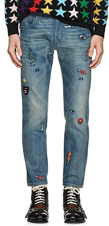 Gucci Men's Embroidered Slim Jeans