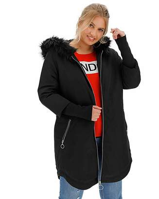 Simply Be Black Faux Fur Lined Parka with Rib Cuff