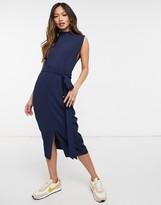 Asos Design DESIGN split sleeve midi dress with obi belt in navy