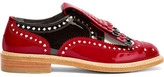 Robert Clergerie + Disney Royal Laser-cut Patent-leather Brogues - Red
