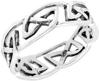 Aeravida Handmade Intricately Beautiful Band of Celtic Knots Sterling Silver Ring