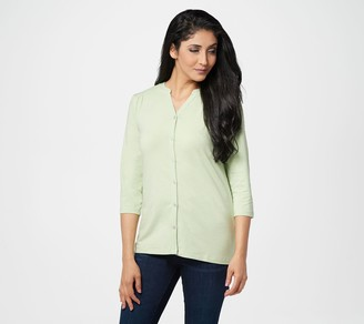 Denim & Co. Textured Knit Button-Front 3/4-Sleeve Top