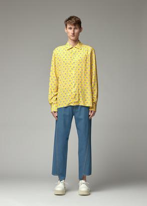 Lanvin Men's Long Sleeve Bowling Shirt in Sun Size 39