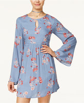 One Hart Juniors' Printed Bell-Sleeve A-Line Dress, Only at Macy's