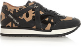 Jimmy Choo leopard-print canvas and patent-leather sneakers