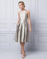 Le Château Metallic Jacquard Halter Cocktail Dress