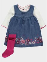 George 3 Piece Embroidered Denim Dress and Top Set