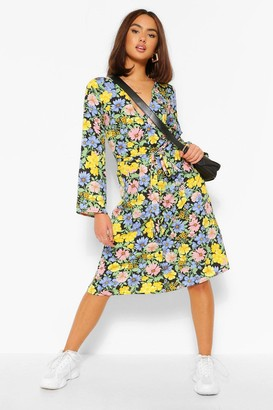 boohoo Floral Print Button Front Midi Dress