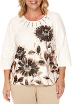 Alfred Dunner 3/4-Sleeve Placed Floral Top - Plus