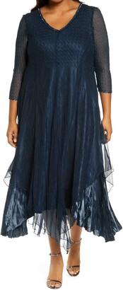 Komarov Embellished Neckline Satin Chiffon & Charmeuse Dress