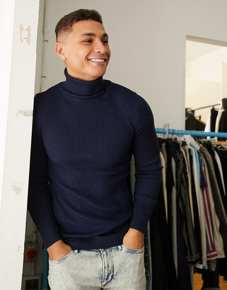 Asos DESIGN muscle fit ribbed roll neck sweater in navy